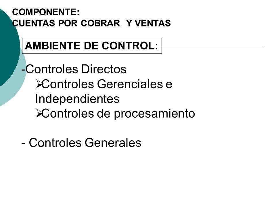 Controles Gerenciales e Independientes Controles de procesamiento