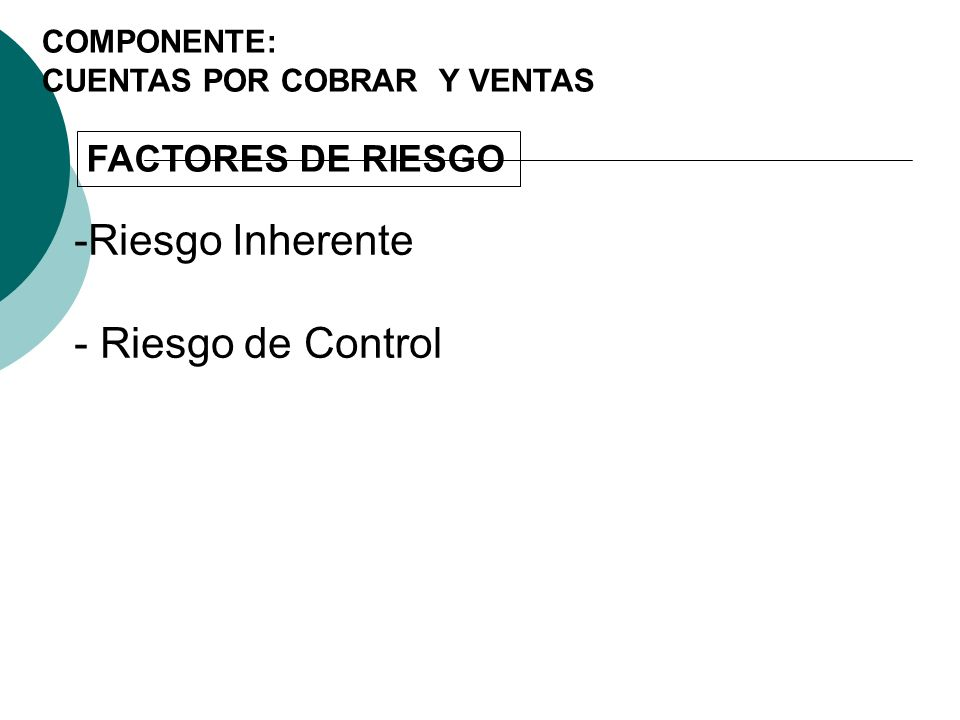 Riesgo Inherente - Riesgo de Control FACTORES DE RIESGO COMPONENTE: