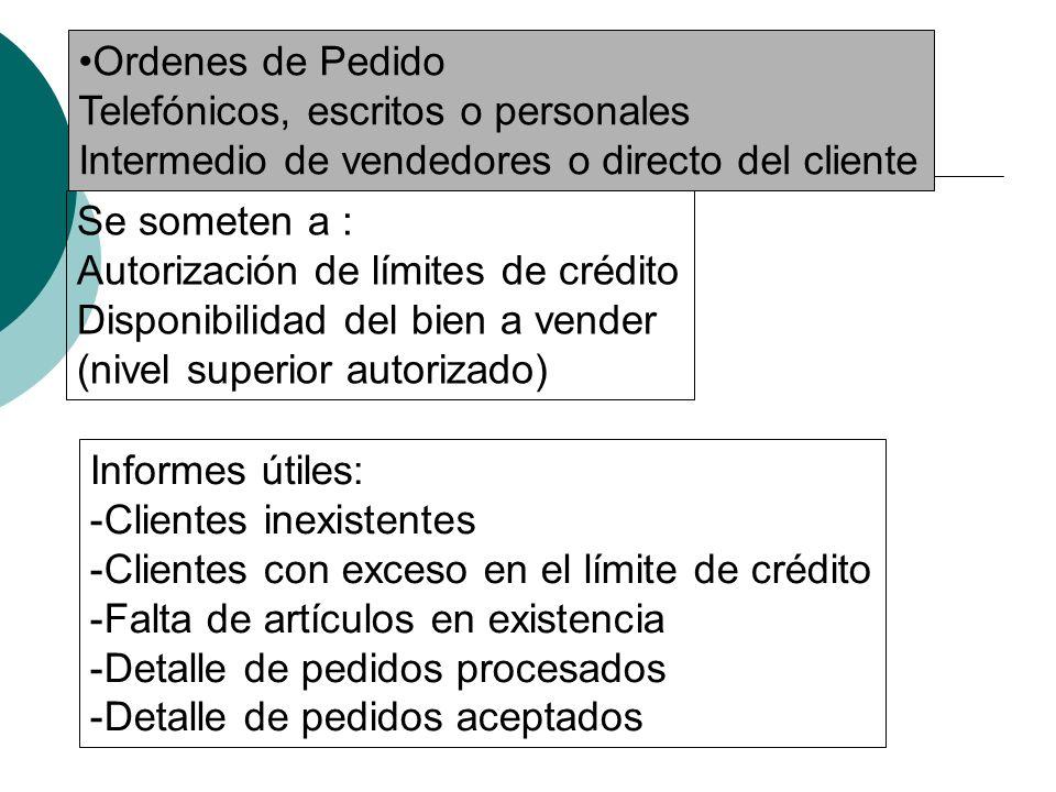 Ordenes de Pedido Telefónicos, escritos o personales. Intermedio de vendedores o directo del cliente.