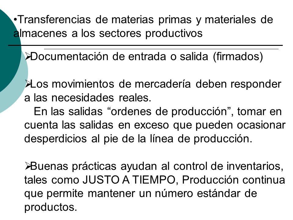 Transferencias de materias primas y materiales de almacenes a los sectores productivos