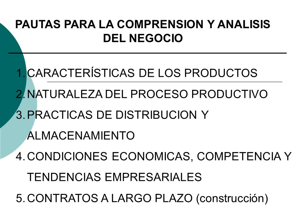 PAUTAS PARA LA COMPRENSION Y ANALISIS DEL NEGOCIO