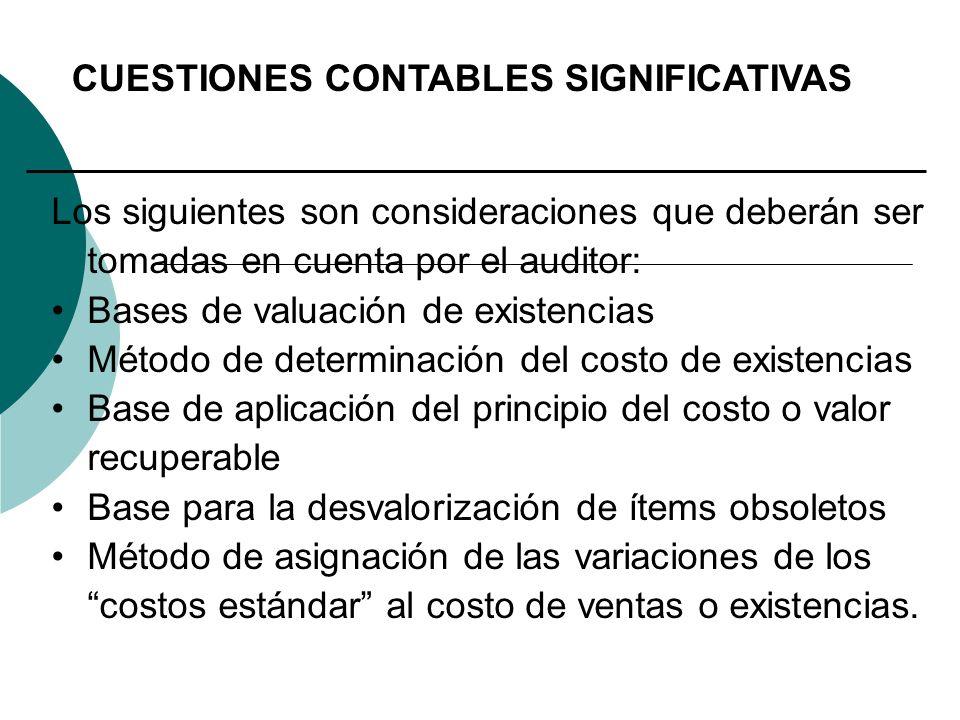 CUESTIONES CONTABLES SIGNIFICATIVAS