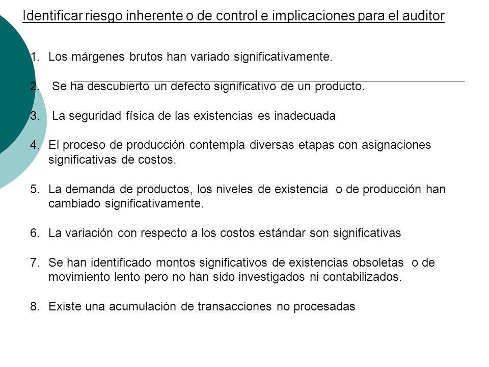 Identificar riesgo inherente o de control e implicaciones para el auditor
