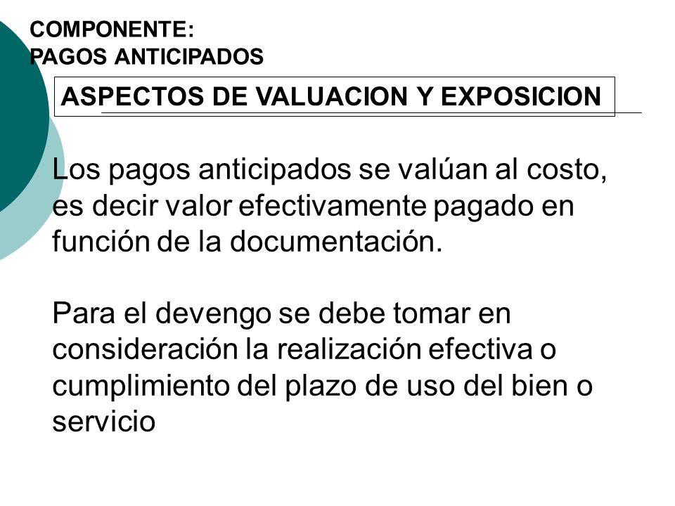 COMPONENTE: PAGOS ANTICIPADOS. ASPECTOS DE VALUACION Y EXPOSICION.