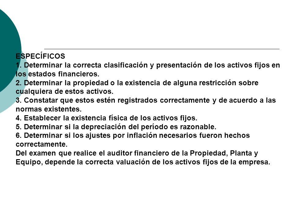 ESPECÍFICOS 1. Determinar la correcta clasificación y presentación de los activos fijos en los estados financieros.