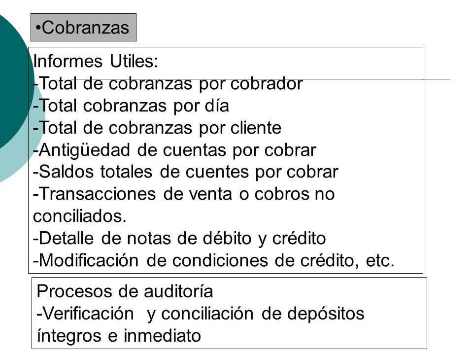Cobranzas Informes Utiles: -Total de cobranzas por cobrador. -Total cobranzas por día. -Total de cobranzas por cliente.