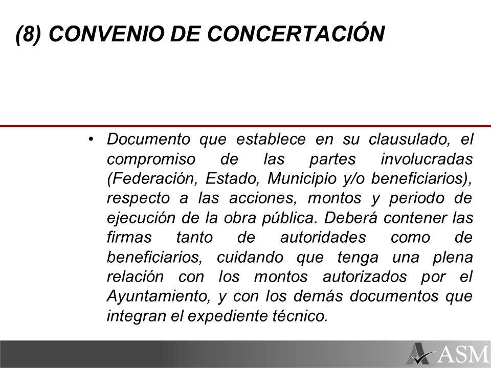 (8) CONVENIO DE CONCERTACIÓN