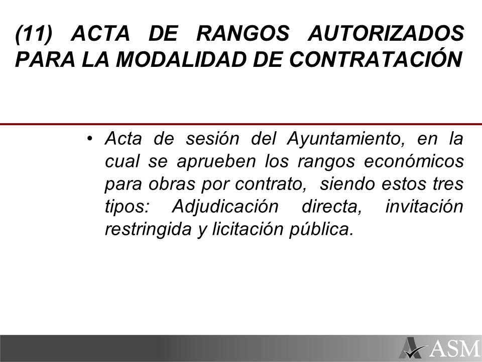 (11) ACTA DE RANGOS AUTORIZADOS PARA LA MODALIDAD DE CONTRATACIÓN
