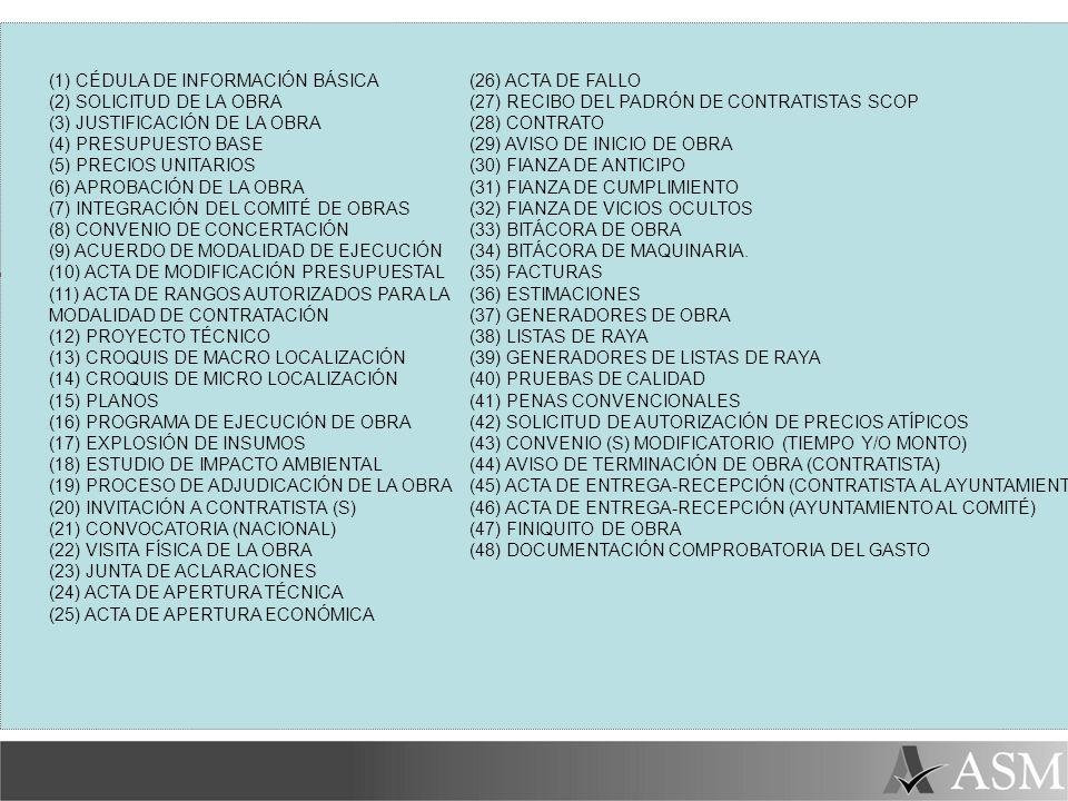 (1) CÉDULA DE INFORMACIÓN BÁSICA