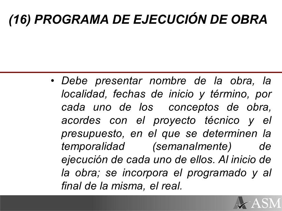 (16) PROGRAMA DE EJECUCIÓN DE OBRA