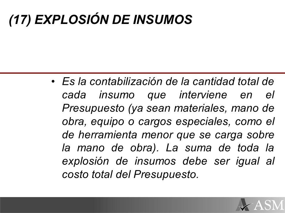 (17) EXPLOSIÓN DE INSUMOS