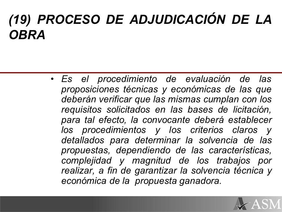 (19) PROCESO DE ADJUDICACIÓN DE LA OBRA