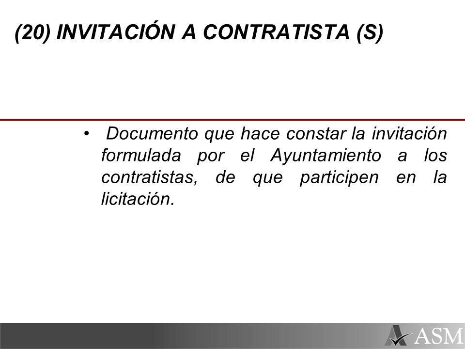 (20) INVITACIÓN A CONTRATISTA (S)