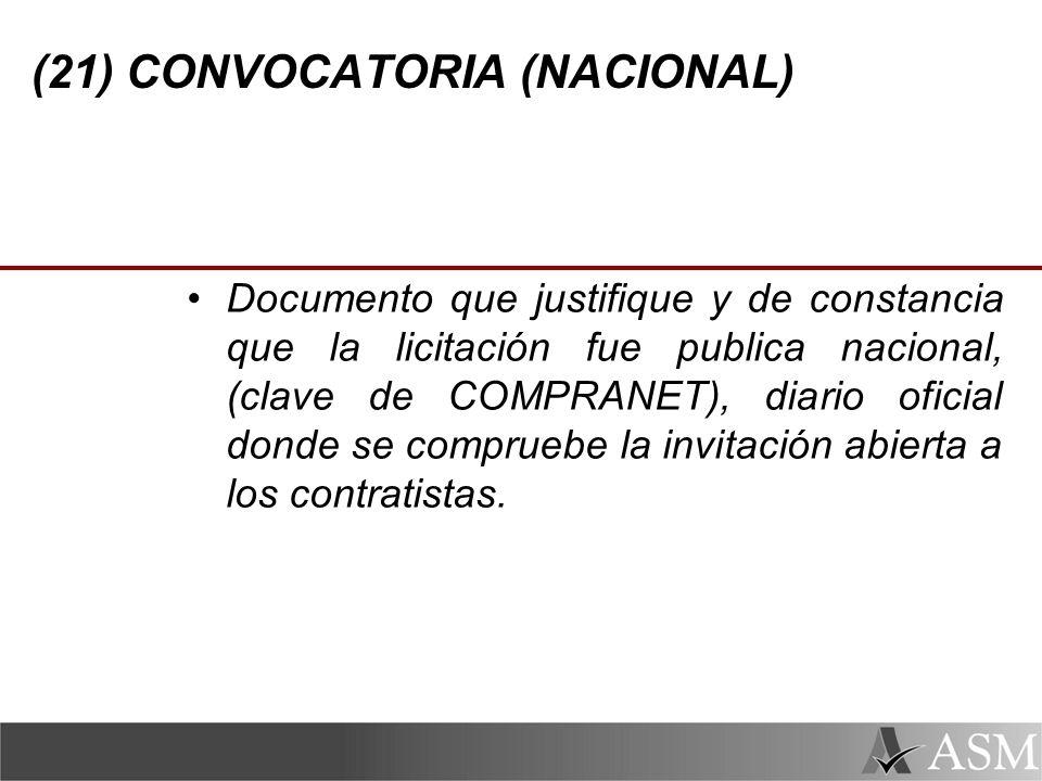 (21) CONVOCATORIA (NACIONAL)