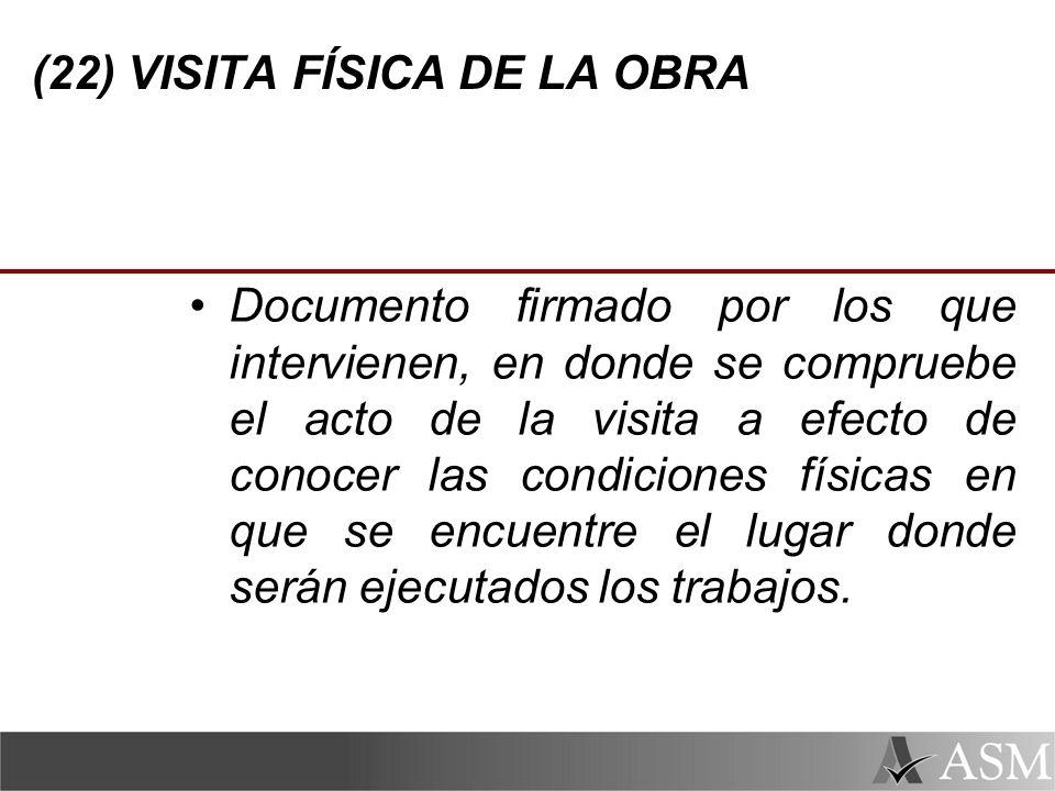 (22) VISITA FÍSICA DE LA OBRA