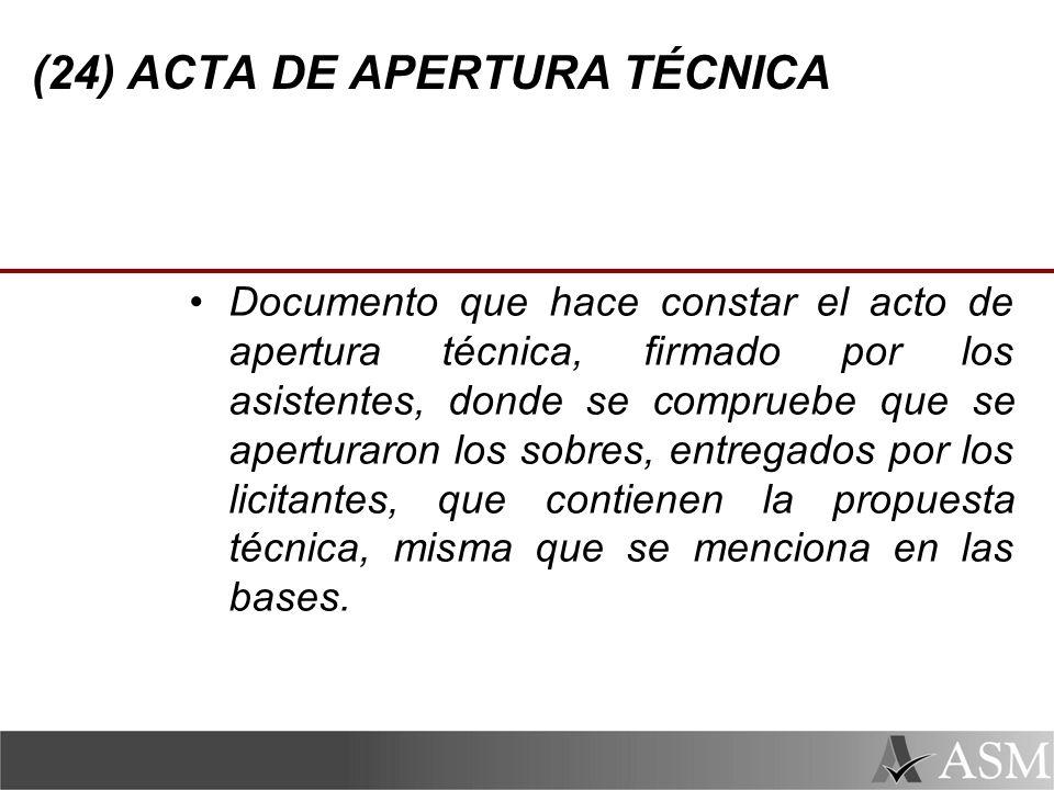 (24) ACTA DE APERTURA TÉCNICA