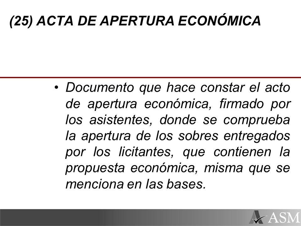 (25) ACTA DE APERTURA ECONÓMICA