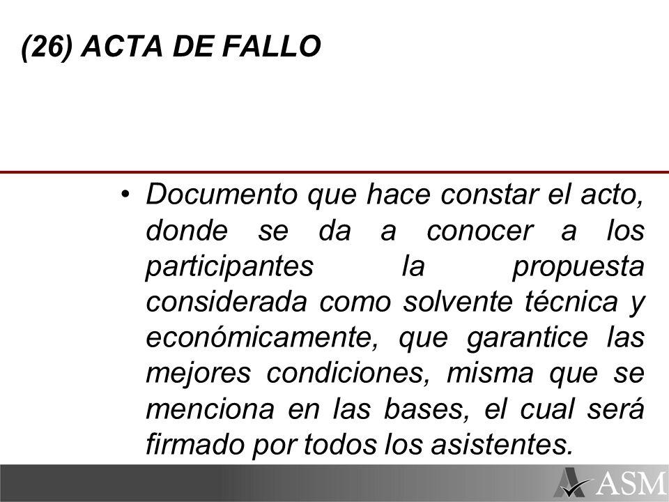 (26) ACTA DE FALLO