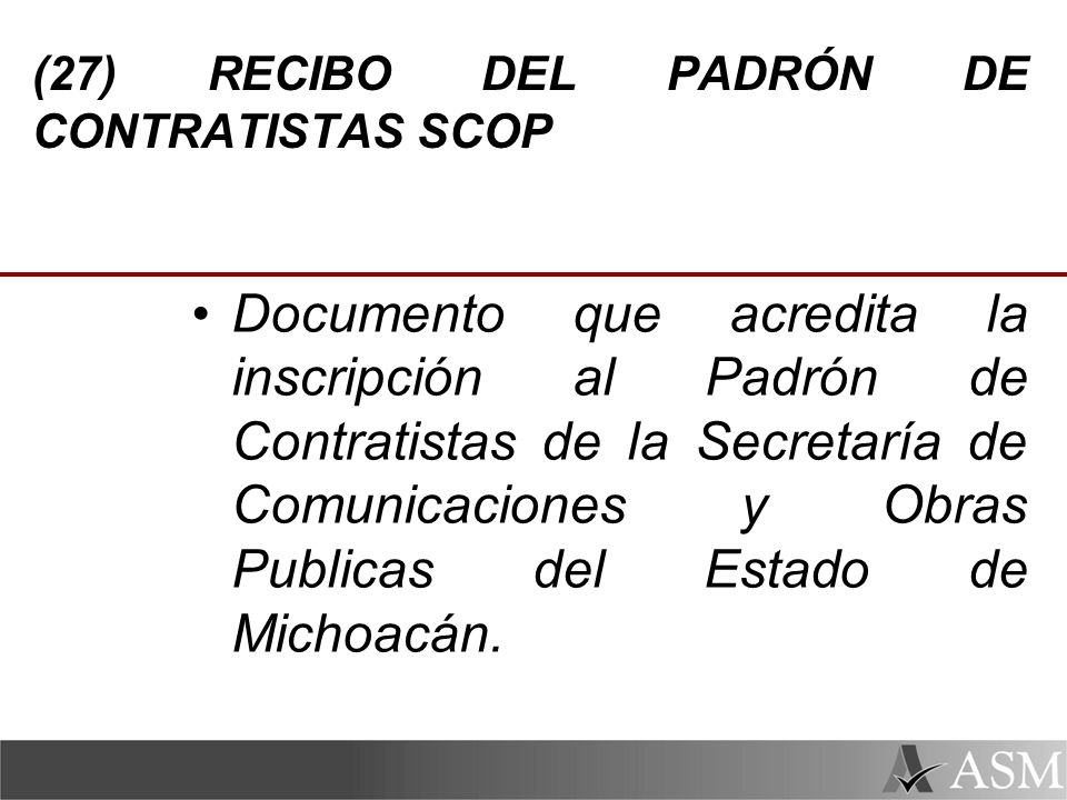 (27) RECIBO DEL PADRÓN DE CONTRATISTAS SCOP