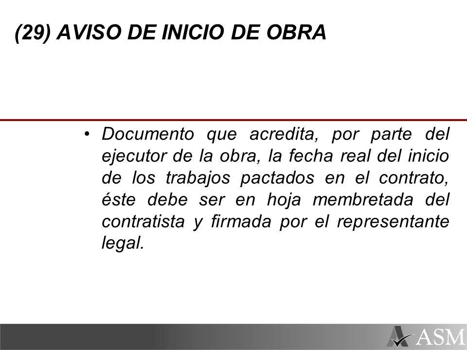 (29) AVISO DE INICIO DE OBRA