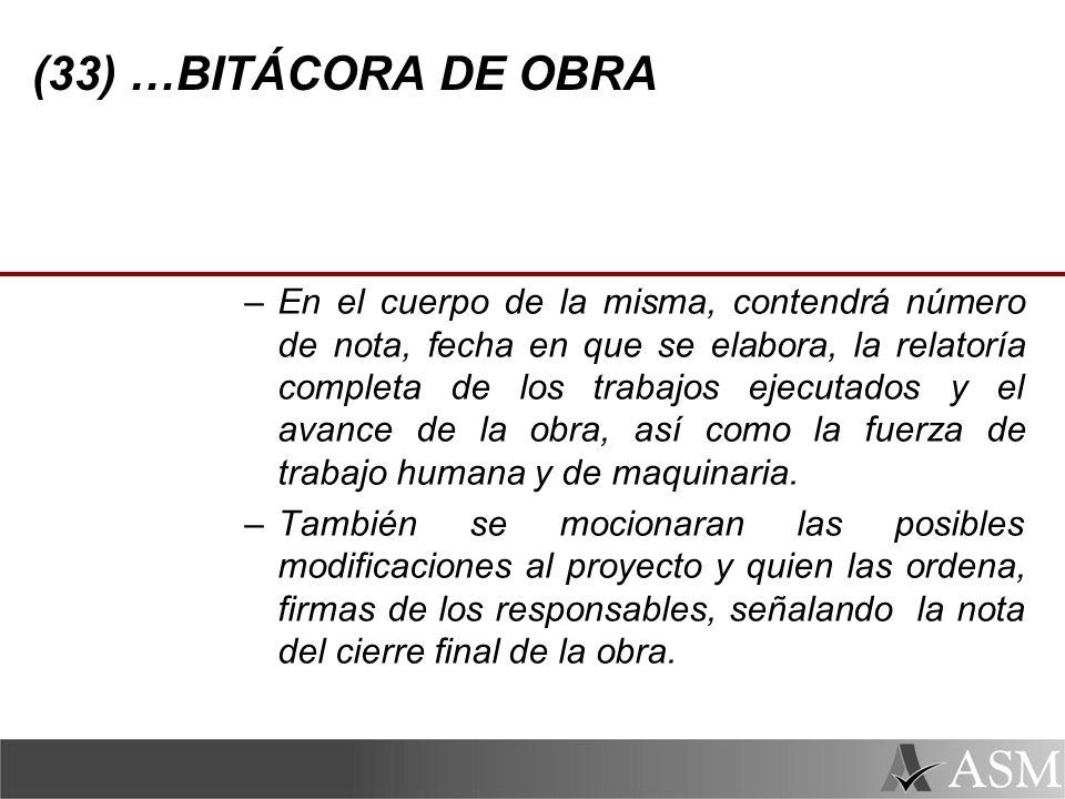 (33) …BITÁCORA DE OBRA
