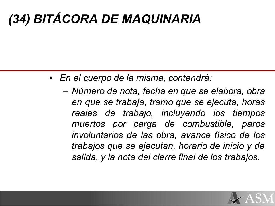 (34) BITÁCORA DE MAQUINARIA