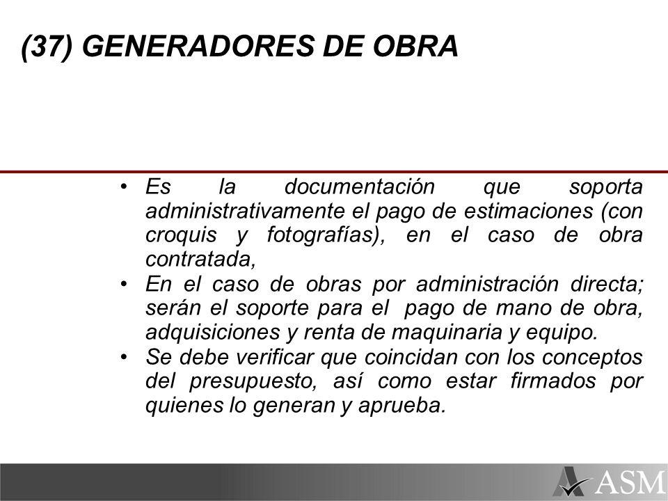 (37) GENERADORES DE OBRA