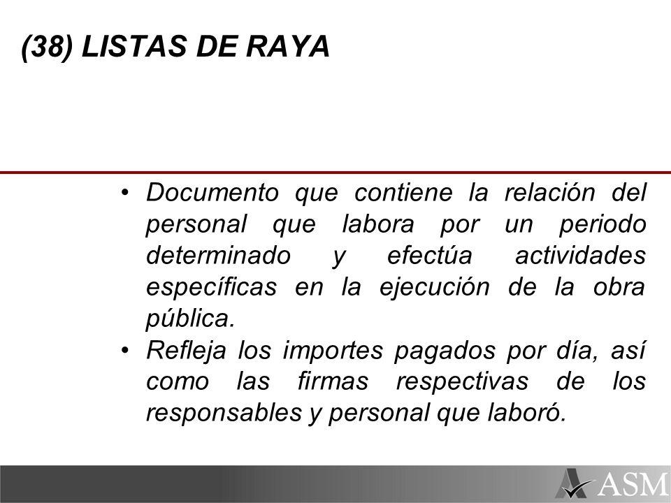 (38) LISTAS DE RAYA