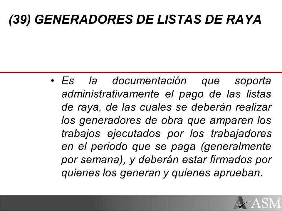 (39) GENERADORES DE LISTAS DE RAYA