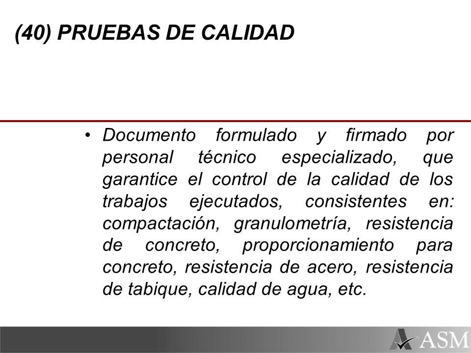 (40) PRUEBAS DE CALIDAD