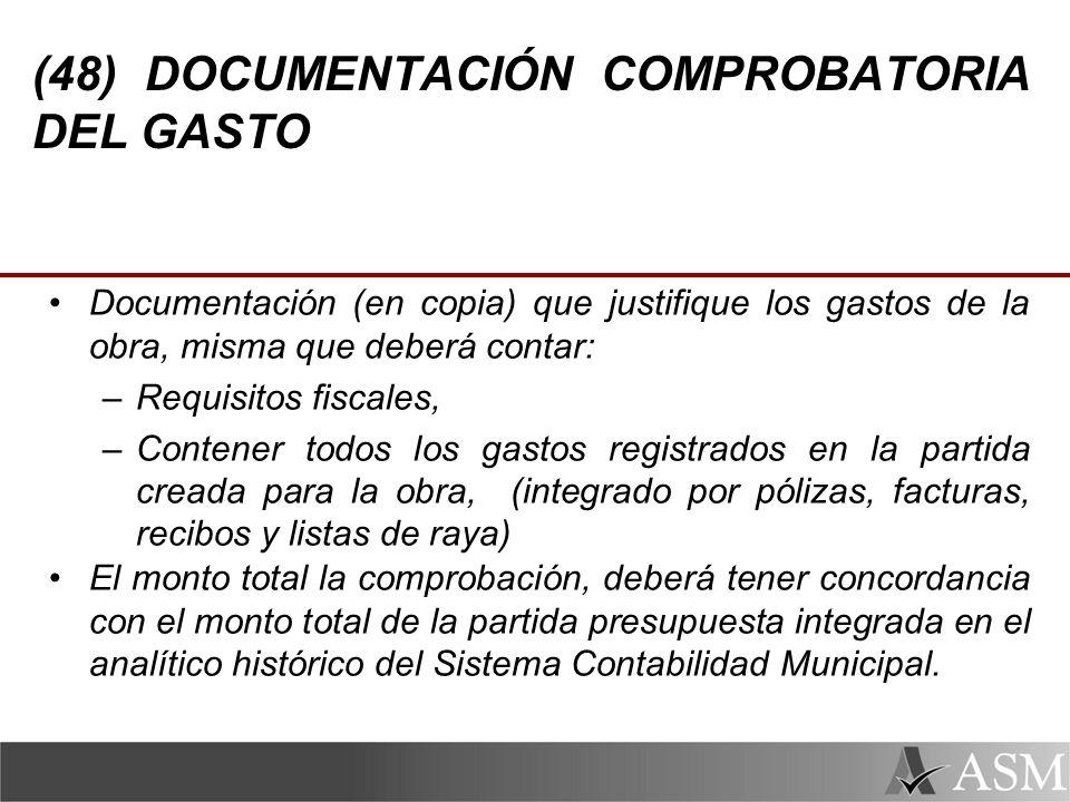 (48) DOCUMENTACIÓN COMPROBATORIA DEL GASTO