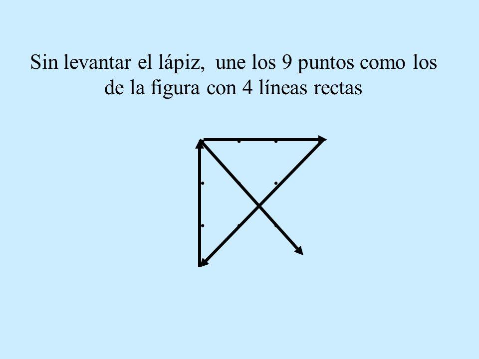 Sin levantar el lápiz, une los 9 puntos como los de la figura con 4 líneas rectas