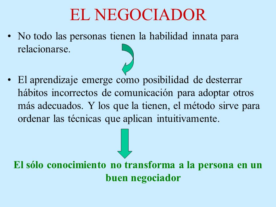 El sólo conocimiento no transforma a la persona en un buen negociador