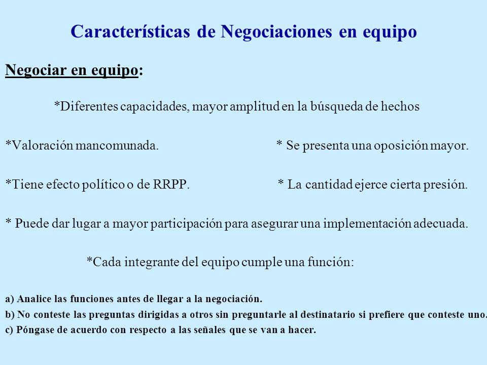 Características de Negociaciones en equipo