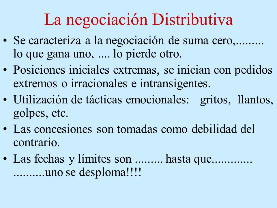 La negociación Distributiva
