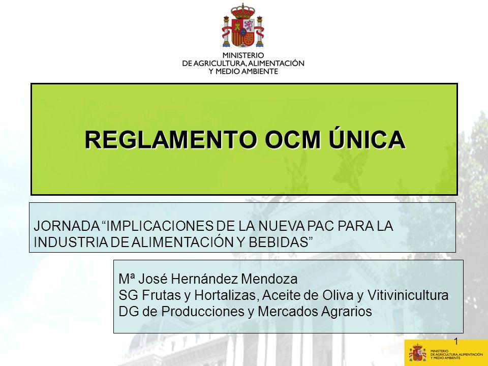 REGLAMENTO OCM ÚNICA JORNADA IMPLICACIONES DE LA NUEVA PAC PARA LA INDUSTRIA DE ALIMENTACIÓN Y BEBIDAS
