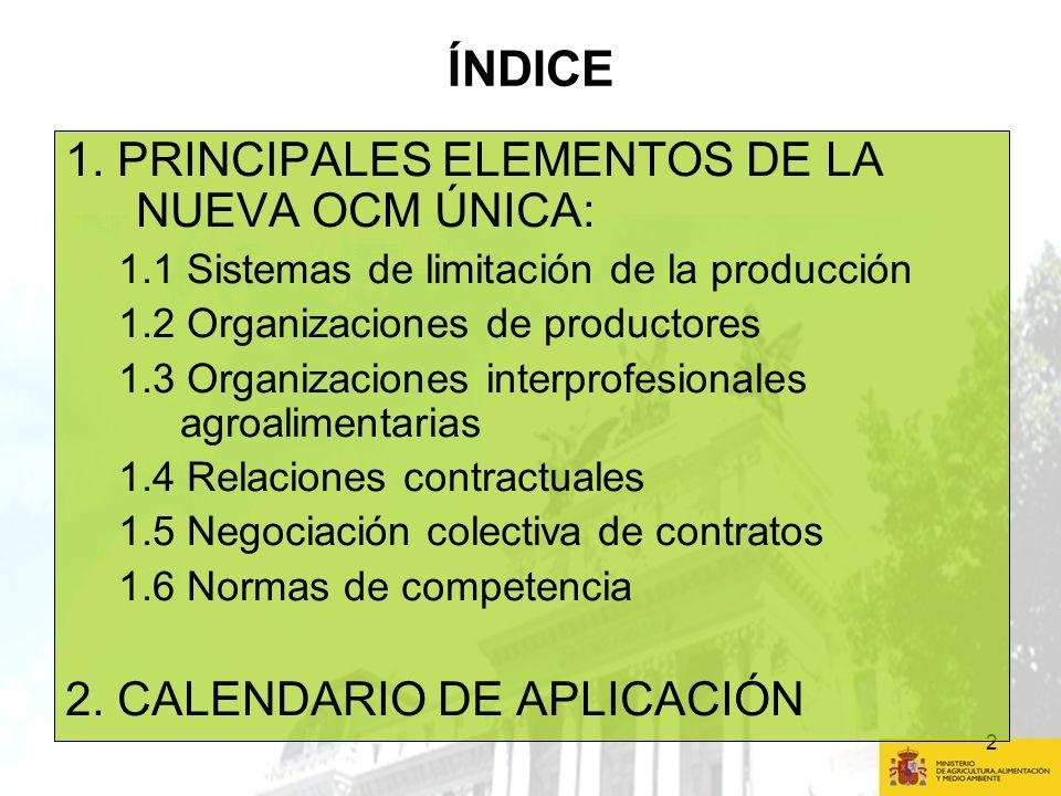 ÍNDICE 1. PRINCIPALES ELEMENTOS DE LA NUEVA OCM ÚNICA: