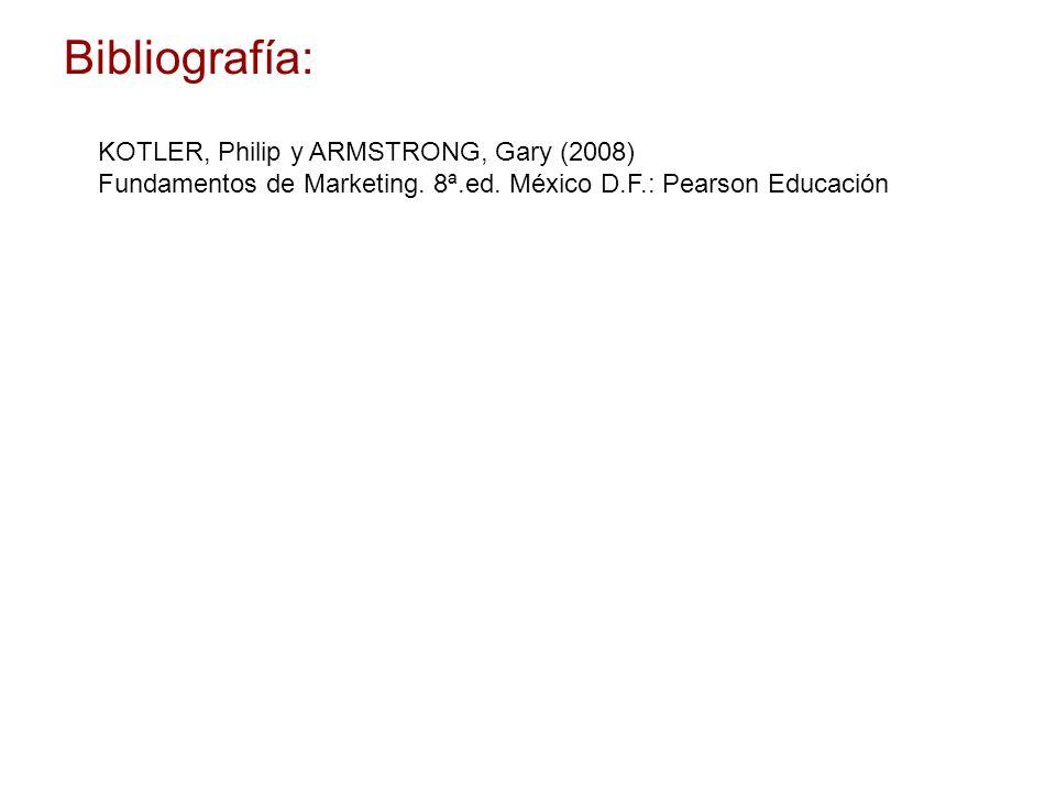 Bibliografía: KOTLER, Philip y ARMSTRONG, Gary (2008)