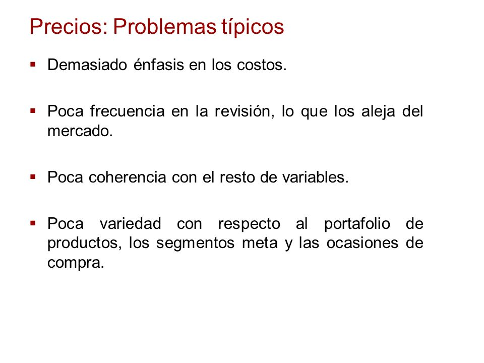 Precios: Problemas típicos