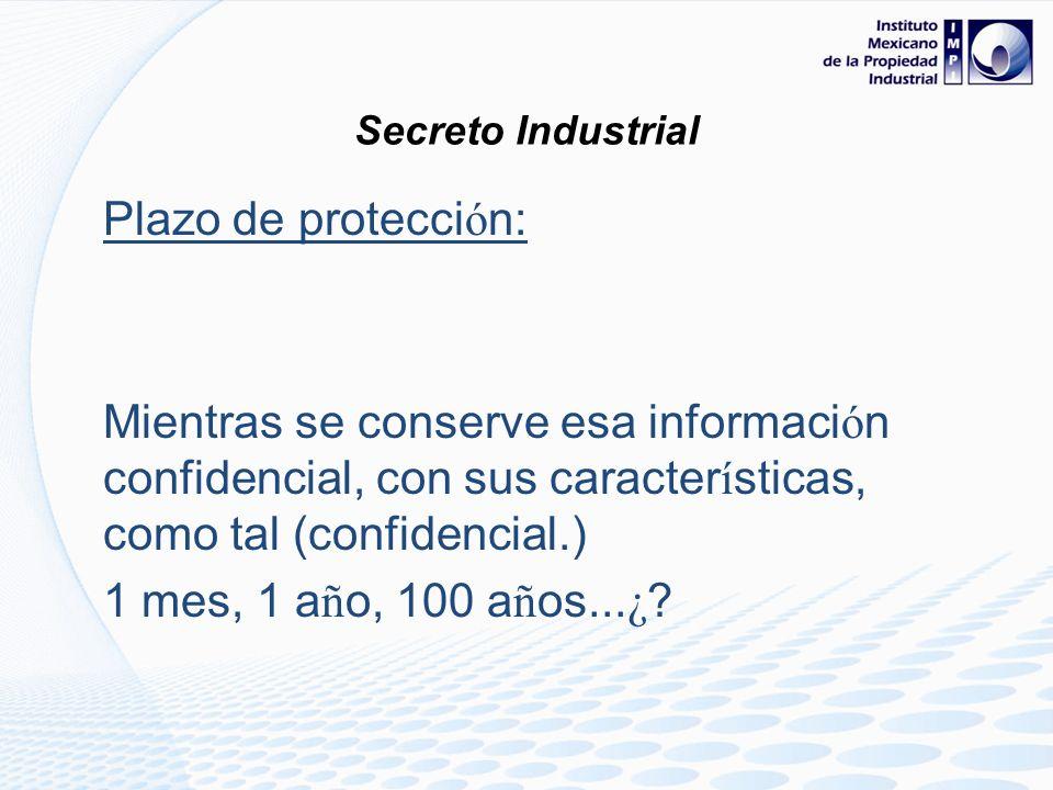 Secreto Industrial Plazo de protección: Mientras se conserve esa información confidencial, con sus características, como tal (confidencial.)
