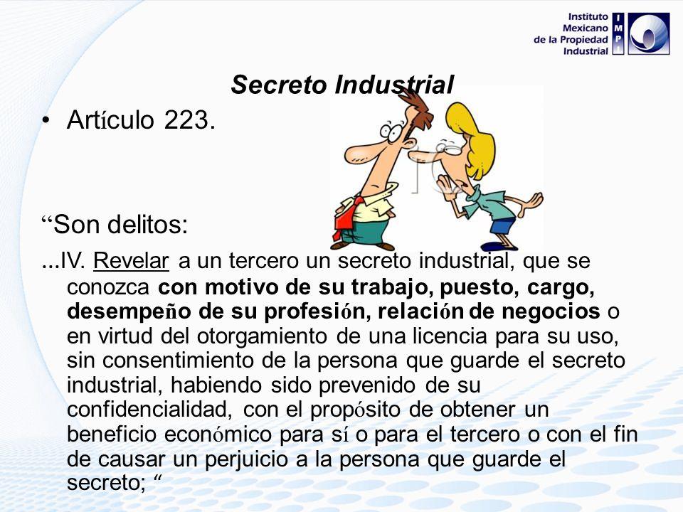 Secreto IndustrialArtículo 223. Son delitos: