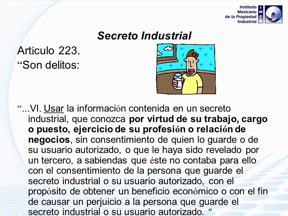 Secreto Industrial Artículo 223. Son delitos: