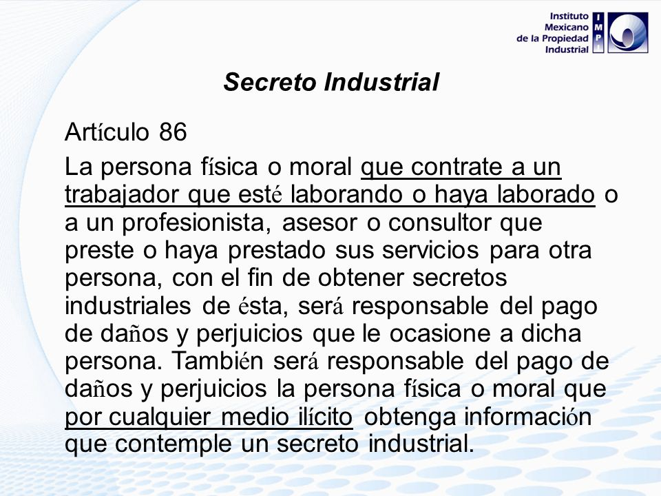 Secreto IndustrialArtículo 86.