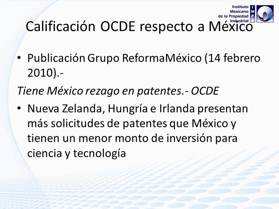 Calificación OCDE respecto a México