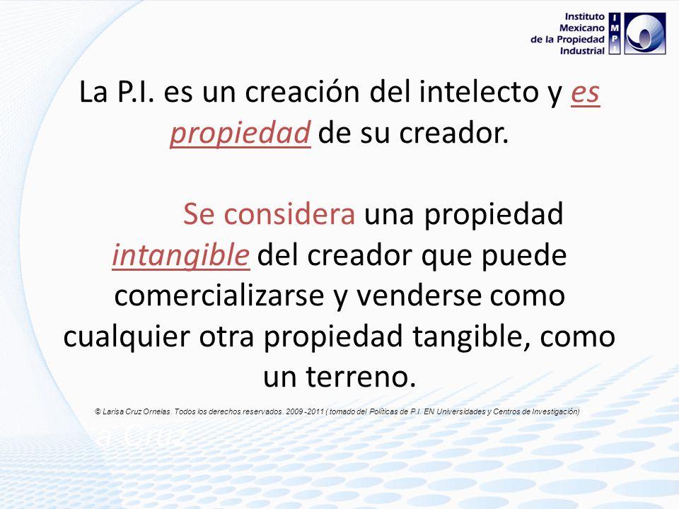 La P. I. es un creación del intelecto y es propiedad de su creador