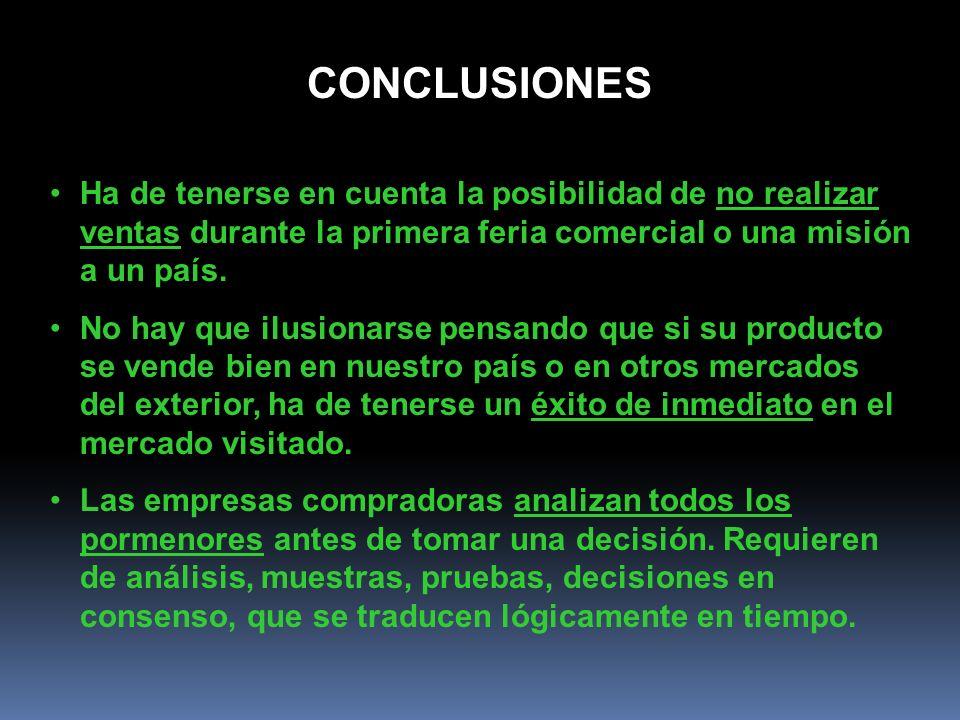 CONCLUSIONES Ha de tenerse en cuenta la posibilidad de no realizar ventas durante la primera feria comercial o una misión a un país.