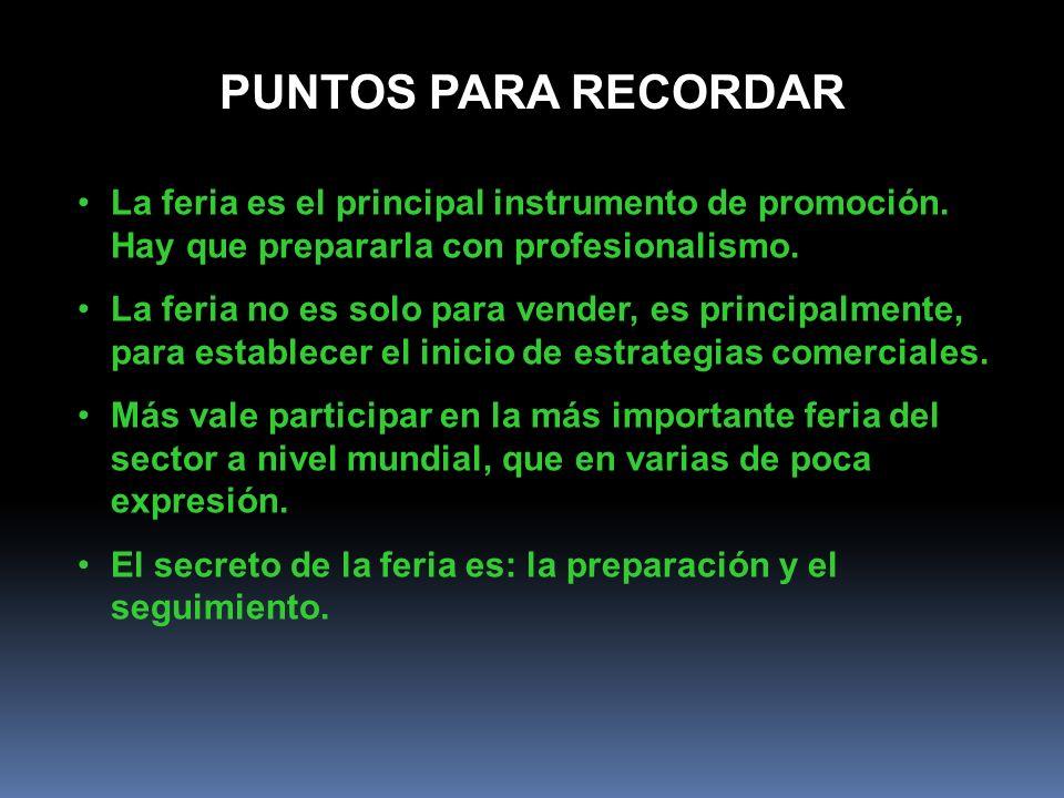 PUNTOS PARA RECORDAR La feria es el principal instrumento de promoción. Hay que prepararla con profesionalismo.