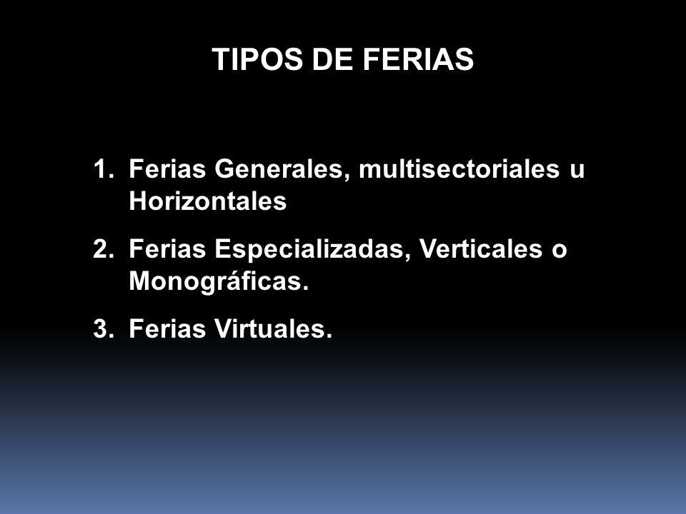 TIPOS DE FERIAS Ferias Generales, multisectoriales u Horizontales