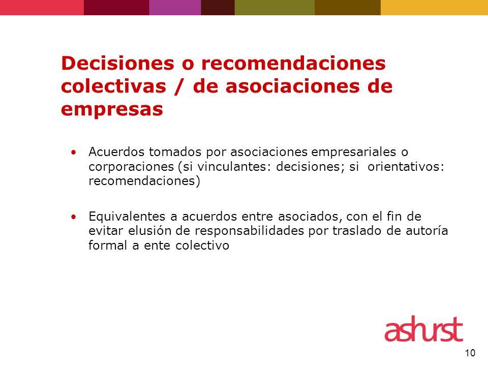 Decisiones o recomendaciones colectivas / de asociaciones de empresas