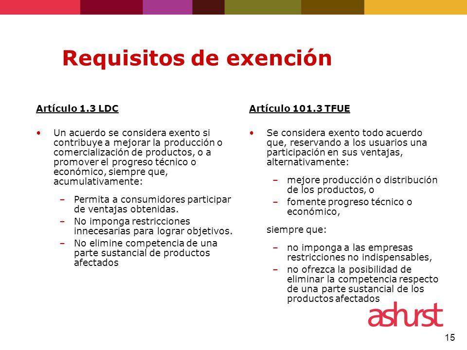 Requisitos de exención